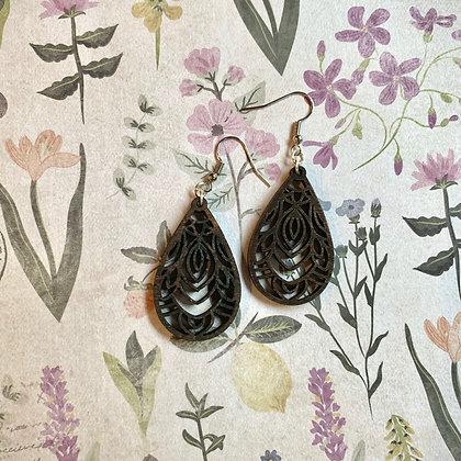 Brown Wood Drop Earrings