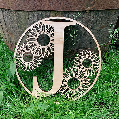 Round Sunflower Initial Sign