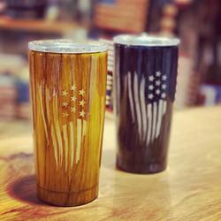 Woodgrain American flag tumblers