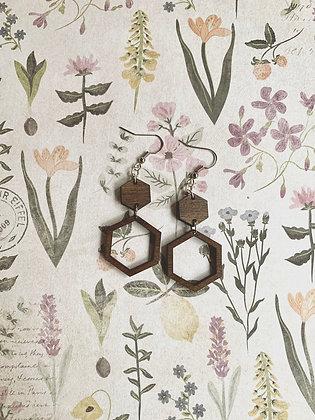 Large Wood Hexagon Drop Earrings