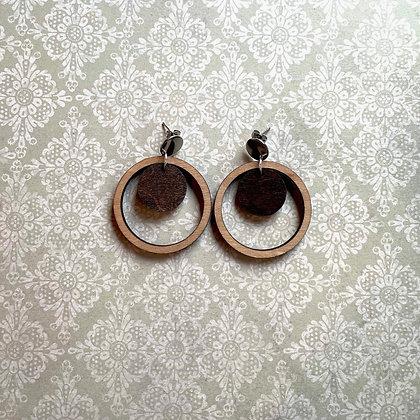 Large Double Circle Wood Drop Earrings