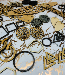 Assorted wood and leather jewelry