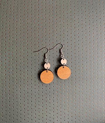 Circle Wood Drop Earrings