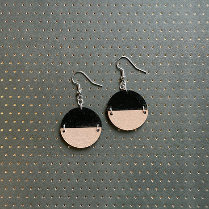 Leather Divided Drop Earrings