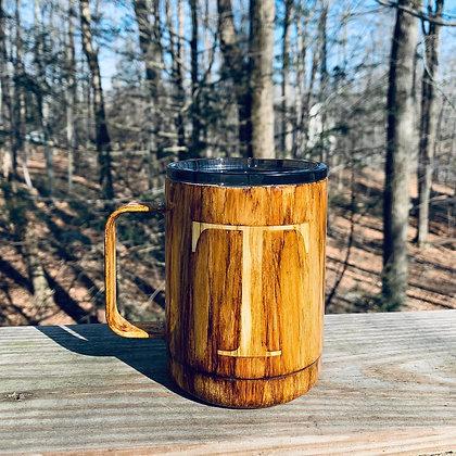 Initial Woodgrain Stainless Steel Mug