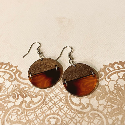 Wood and Tortoise Shell Divided Drop Earrings
