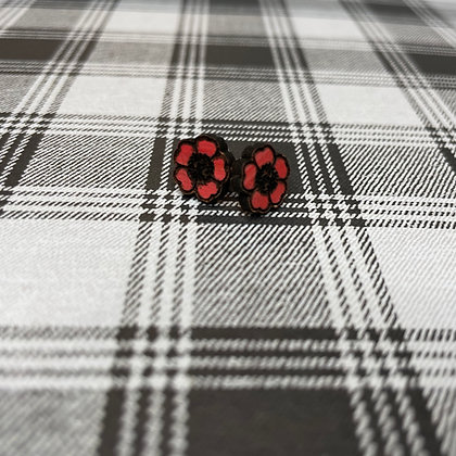 Red Leather Flower Stud Earrings