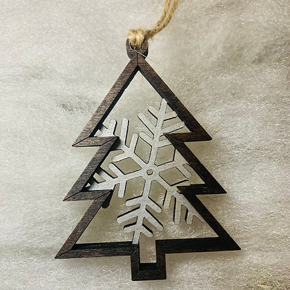 Silver Single Flake Tree Ornament