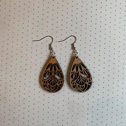 Light Brown Wood Drop Earrings