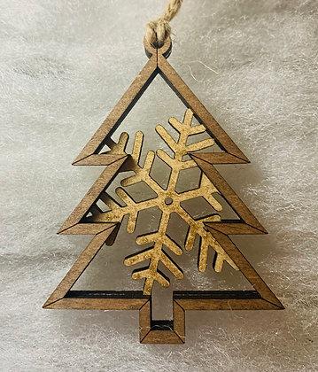 Gold Single Flake Tree Ornament