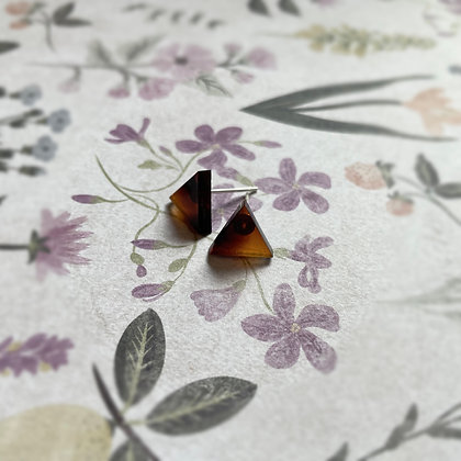 Triangle Tortoise Shell Stud Earrings