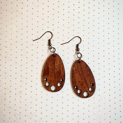 Brown Leather Drop Earrings