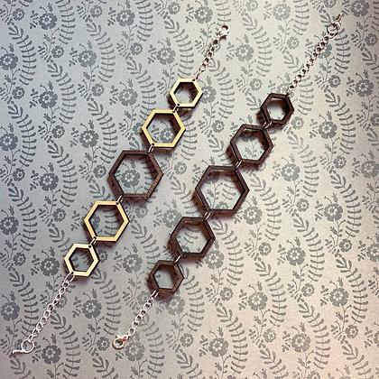Wood Hexagon Link Bracelet