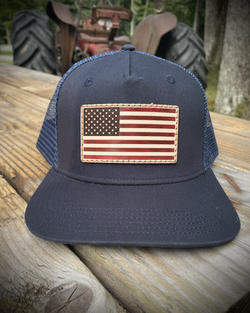 Leather patch American Flag Hat
