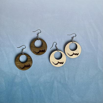 Lake Wallenpaupack Wood Hoop Earrings