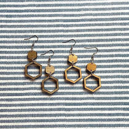 Wood Double Hexagon Drop Earrings