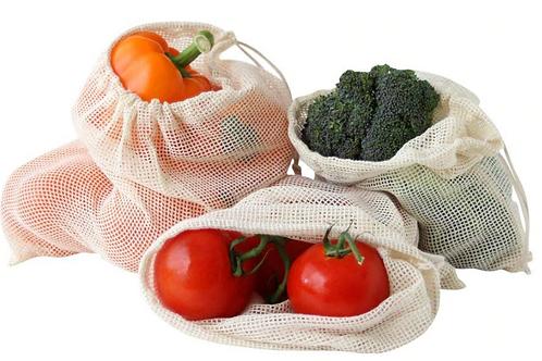 Cotton Mesh Produce Bags - 6 piece
