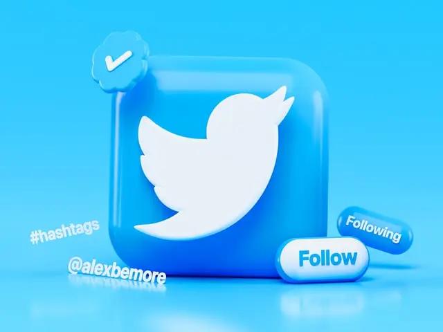Cubo con el logotipo de Twitter