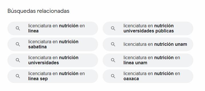 """Búsquedas Relacionadas con la palabra """"licenciatura en Nutrición"""". Fuente: Google"""