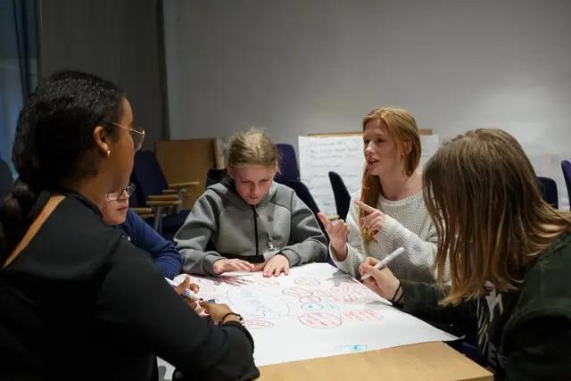 Cinco jóvenes haciendo un mapa mental