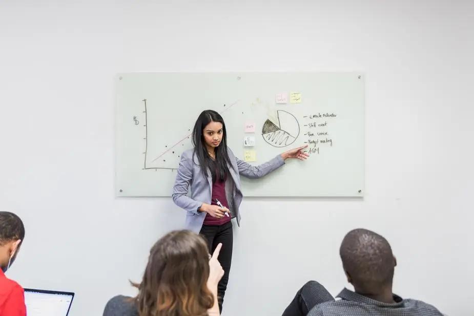 Mujer presentando gráficos en una pizarra blanca