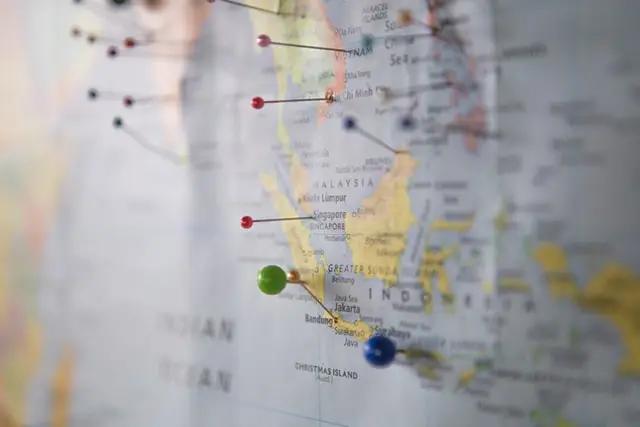 Un mapa con puntos señalados