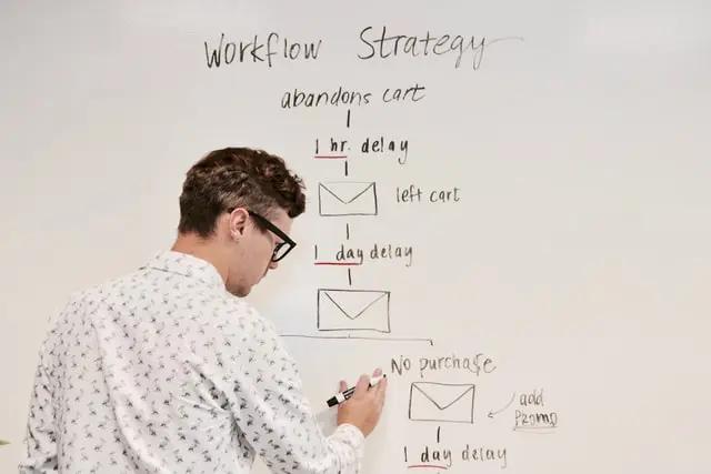 Un chico dibujando una estrategia en una pizarra