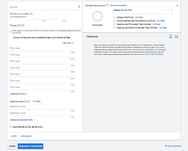Configuración de anuncio en Google Ads
