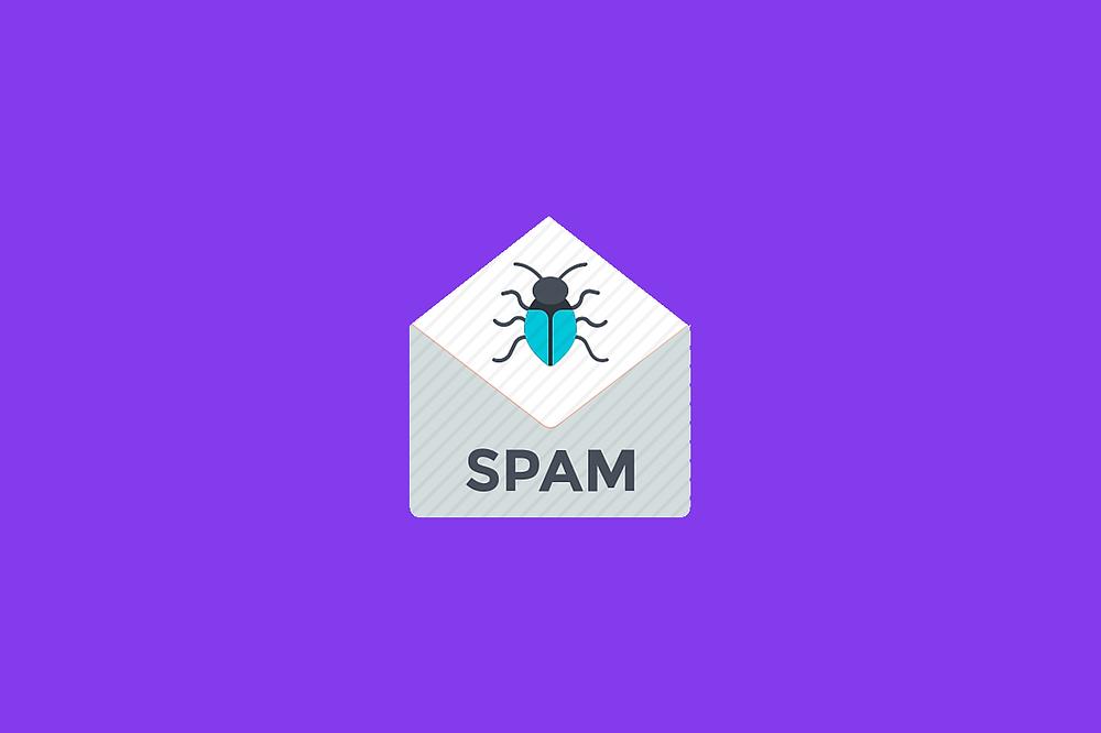 """ícono de sobre de correo con la palabra """"spam"""" y el dibujo de un insecto"""