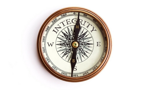 Stop Watch with the words Integrity pointing North