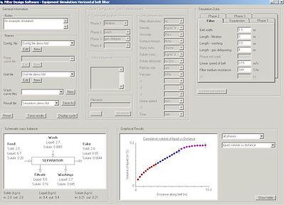Filter Design Software - Filter simulation screen