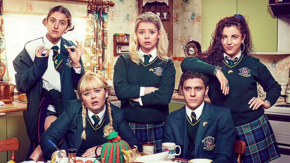 Louisa Harland, Nicola Coughlan, Saoirse-Monica Jackson, Dylan Llewellyn, and Jamie-Lee O'Donnell in Derry Girls / Netflix