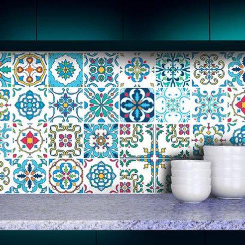 Set of Vinyl Tiles - Portuguese Floral