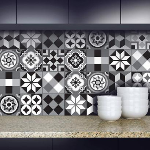 Set of 12 Vinyl Tiles - Moroccan - Black