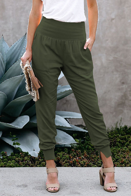 Green Pocketed Casual Joggers