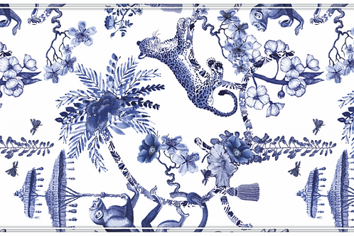 Chinoiserie - Blue Vinyl Table Runner
