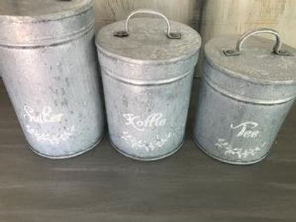SET OF 3 COFFEE/TEA/SUGAR CANISTERS UPRIGHT WITH LID