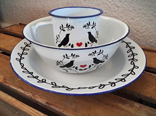 Bird Love Set - Cup, Bowl, Plate