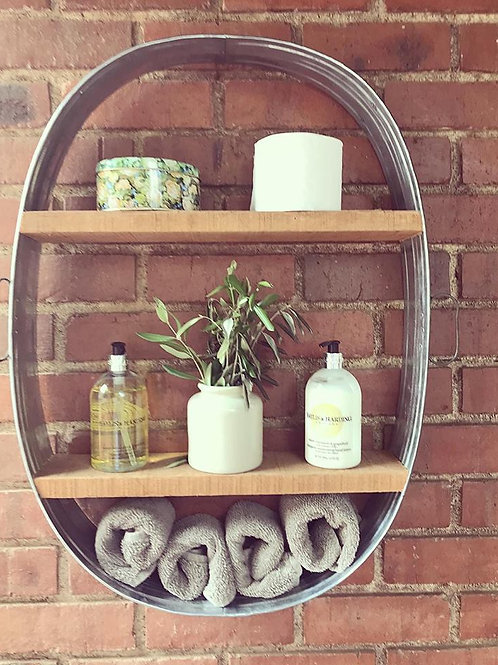OVAL UPRIGHT WALL-MOUNTED TIN FRAME- WITHOUT BACKING- SHELF (Handles on Side)