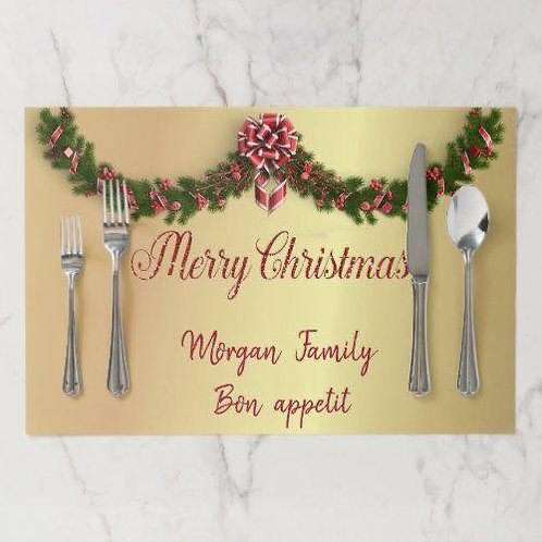Christmas Placemats set of 6 Gold