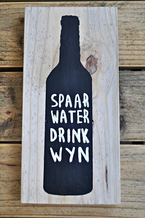Spaar water drink Wyn