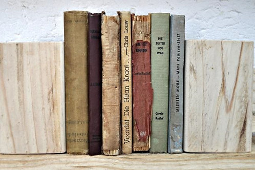 Wooden Block Rhino Bookends