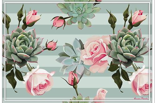 Vinyl Placemats - Set of 4 - Succulents and Roses - Mint Stripes
