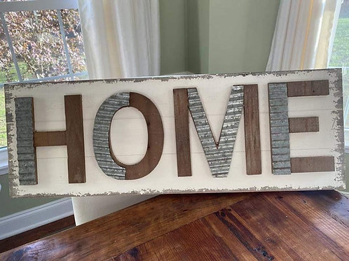 Steel and wood sign