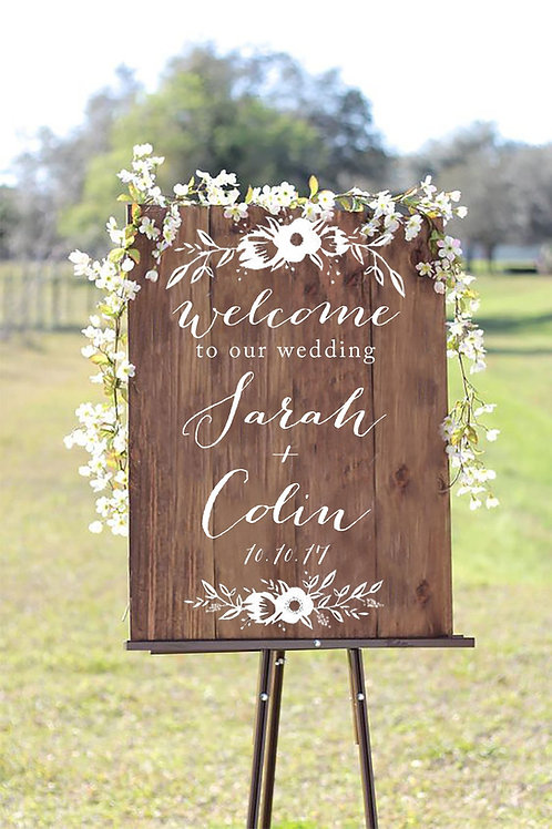 A0 Wedding Welcome Board on Wood