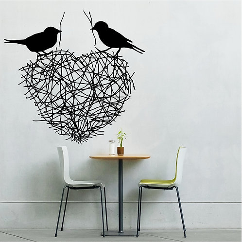 Twig Heart with Birds - Small