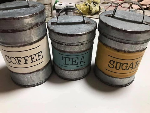 Colours SET OF 3 COFFEE/TEA/SUGAR CANISTERS UPRIGHT WITH LID