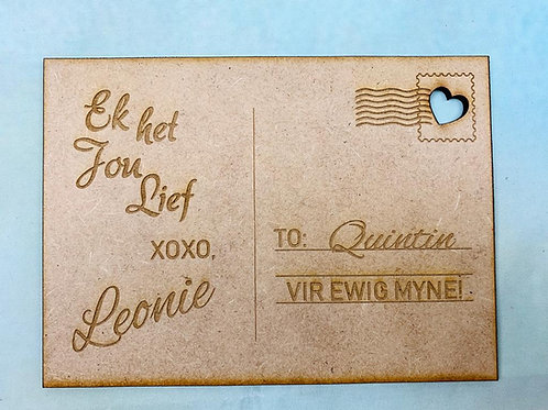 Valentine Wood Card