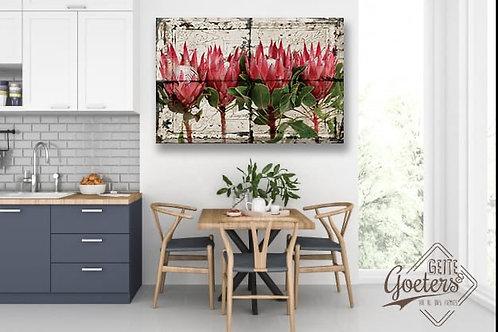 Steel/Wood Protea Protea Pink bunch beige rug