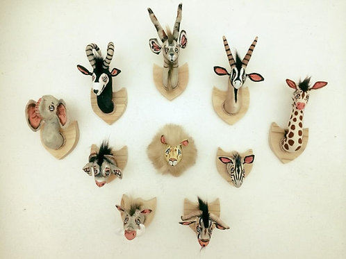 Soft Toy set of 10 on wood wall decor